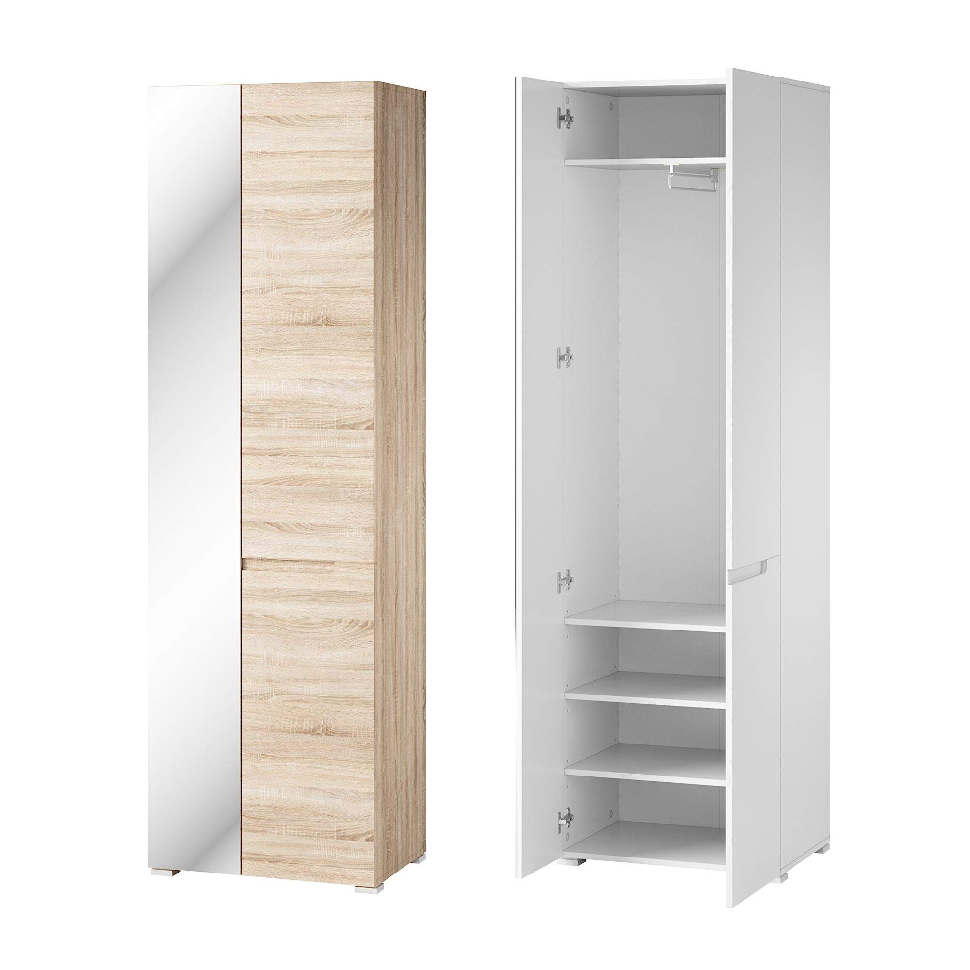 The Wardrobe Perth Perth Sonoma Oak Effect Shallow Narrow Slim Mirrored Wardrobe Szly10